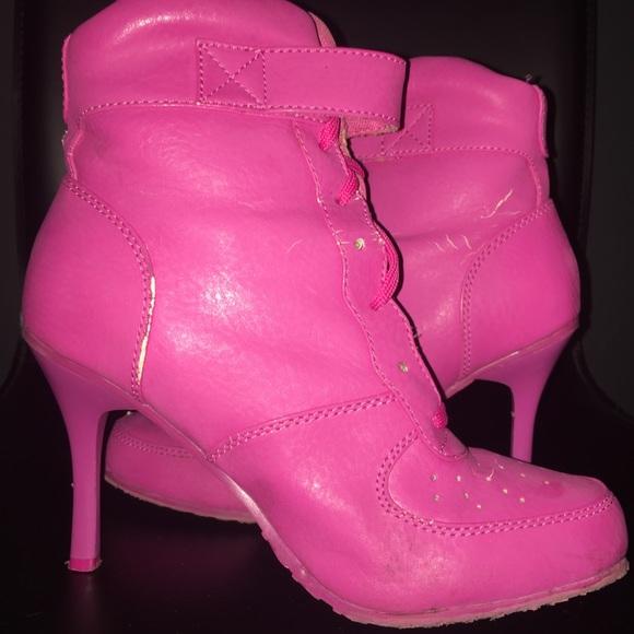 Pink Lace Up Sneaker Booties sneaker heels Size 7