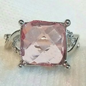 Sterling Plated Pink Stone  and Crystals Ring