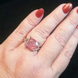 unbranded Jewelry - Sterling Plated Pink Stone  and Crystals Ring