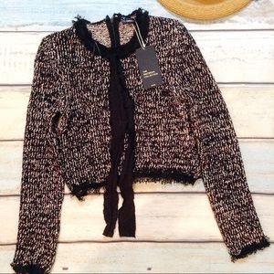 NWT ZARA Knit Boucle Fringe Tie Neck Sweater