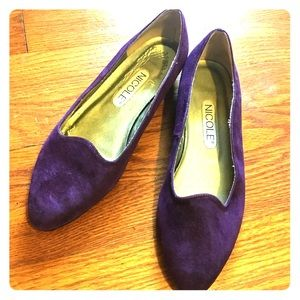 Nicole Purple suede flat loafers