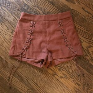 Suede brown shorts