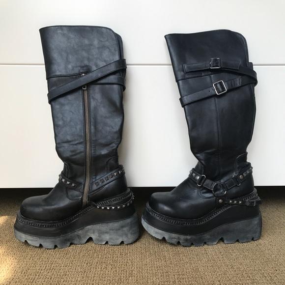 9df1aecb68a98 Demonia Shoes | Shaker 101 Knee High Boots | Poshmark