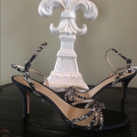 Mercer & Madison Shoes - Black Satin Lace Heels Size 8 Mercer & Madison
