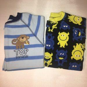 CARTER'S Zip Fleece Footie Pajamas Monster Monkey