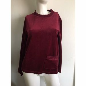 NEW Bordeaux Wine Velvet Like Top Petite M