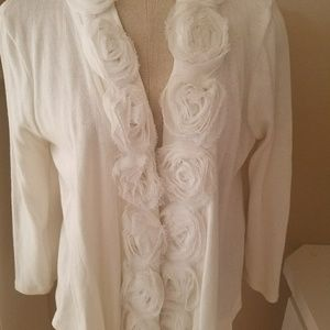 Beige by eci White Cardigan with Roses