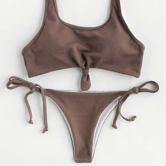 a0a16aa814574 Brandy Melville Swim | Knot Front Ribbed String Bikini | Poshmark