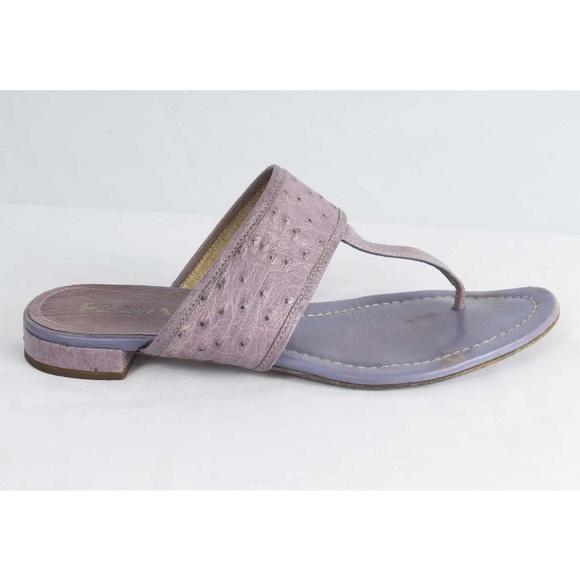 730e6b8d3951 Prada Sz 8.5 Purple Ostrich Leather Thong Sandals.  M 5986a90b8f0fc44ce205b805