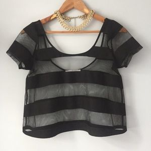 BCBG Black Striped Mesh Crop Top