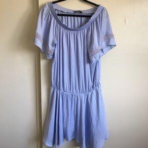 🦋 Off the Shoulder Blue Silk Dress L 🦋
