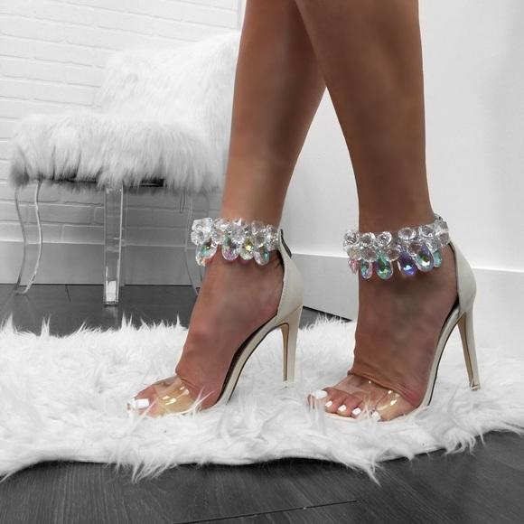 Nude Rhinestone Chandelier Ankle Strap