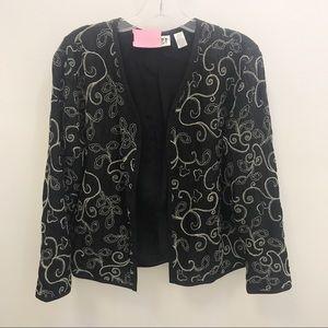 Chico's Design Black & White Embroidered Jacket
