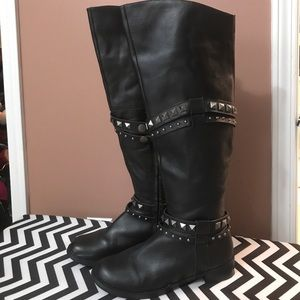 Over the knee leather stud boots sz 10