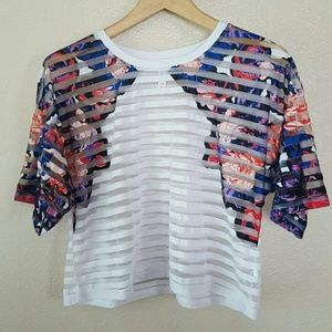 Pretty Floral Striped Cropped T-Shirt