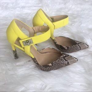 ALDO Rise Neon Yellow & Snake Print Mule