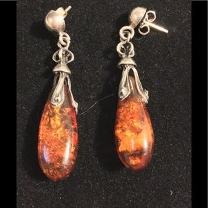 Jewelry - VINTAGE STERLING/ AMBER EARRINGS Closet Clear Out
