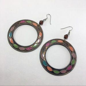 Jewelry - Enamel bronze dangle hoops