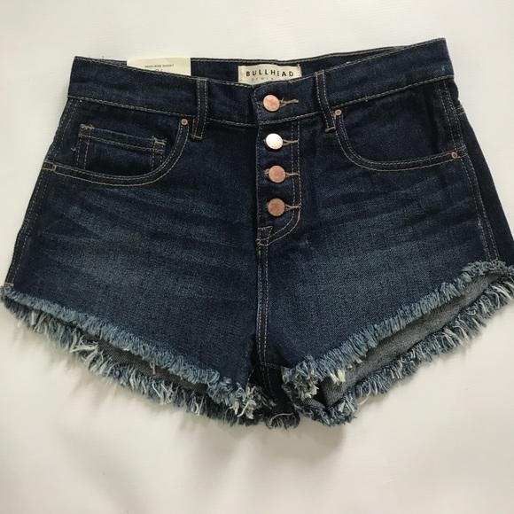 Bullhead Shorts - Bullhead High Rise Dark Denim Jeans Shorts Sz 26