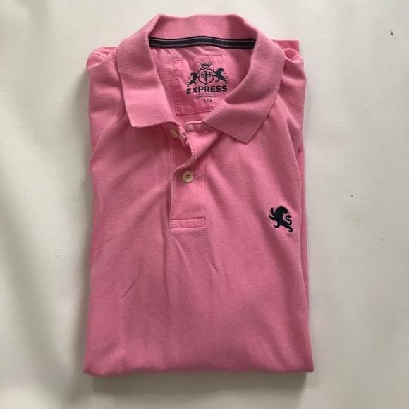 Express Shirts - Express Men's Large Pink Polo Shirt Navy Sz L