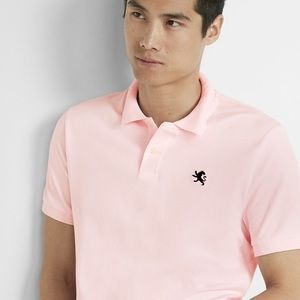 Express Men's Large Pink Polo Shirt Navy Sz L