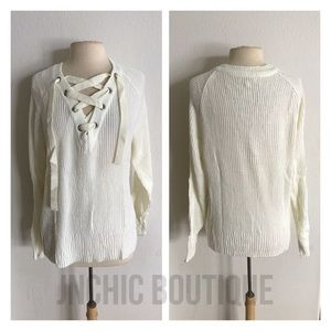 Sweaters - (Plus) White lace up ribbed sweater