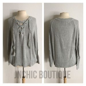 Sweaters - (Plus) Gray lace up ribbed sweater