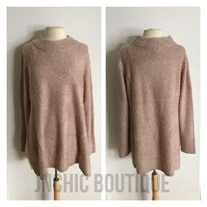 Sweaters - (Plus) Pink chunky knit sweater