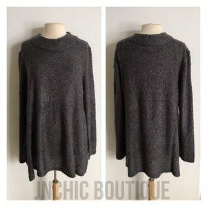 Sweaters - (Plus) Gray chunky knit sweater