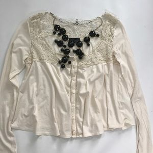 TopShop Ivory White Cream Lace Long Sleeve Blouse