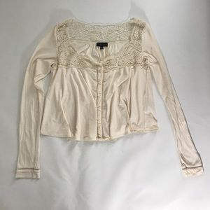 Topshop Tops - TopShop Ivory White Cream Lace Long Sleeve Blouse