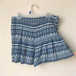 Pants - Blue White Aztec Patterned Flowy Summer Shorts