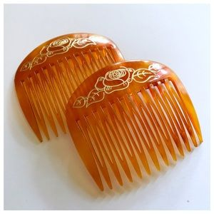 Gorgeous Vintage 1970's French Hair Combs, Large!