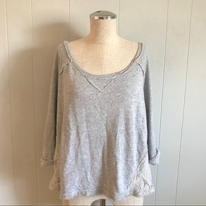 We The Free Free People Slouchy Lace Sweatshirt