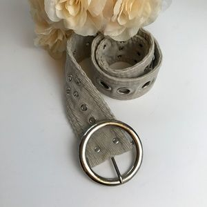 Accessories - Taupe Corduroy Belt Silver Buckle and Grommits M