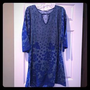 Blue Keyhole Floral Dot Dress