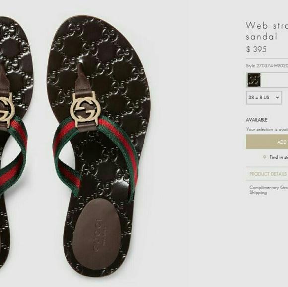 d79ea4162040 Gucci web strap thong sandal (black)