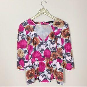 BCBGMAXAZRIA Pink Floral Silk Mesh Cutout Blouse