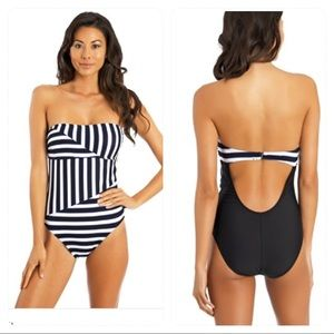 NWT! Nautica Broadside Bandeau One-Piece Swimsuit