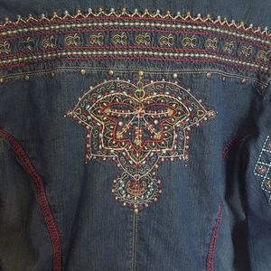 Chicos embroidered denim bohemian jacket