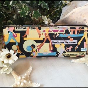 """Rhinestone studded """"Fashion Avenue"""" print clutch"""