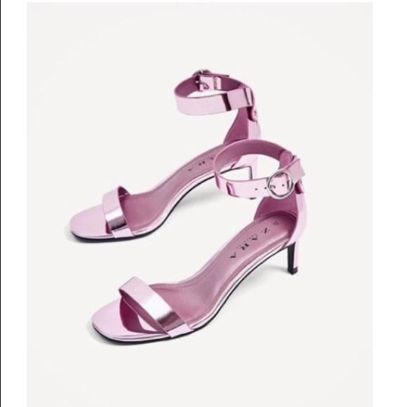 25cef3d8 Zara Shoes | Metallic Ankle Strap Heels | Poshmark