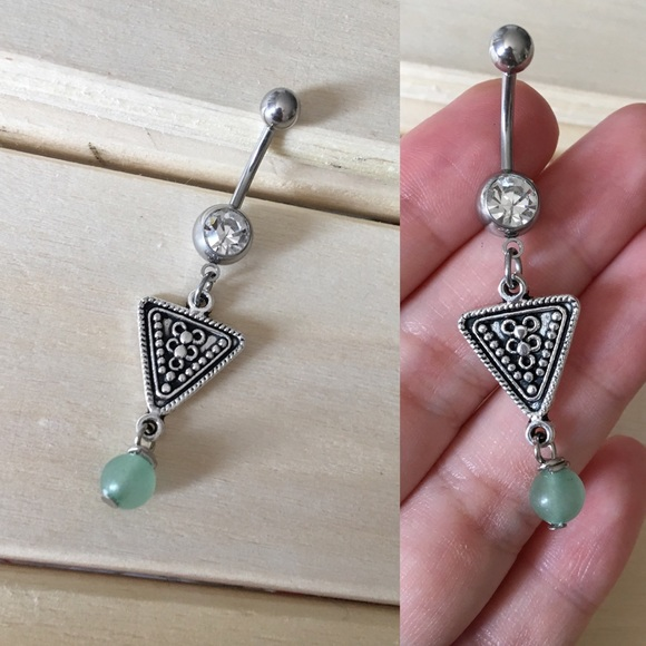 Green Boho Triangle Belly Button Ring Boutique