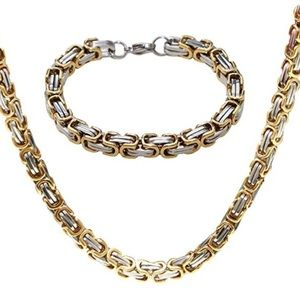 Jewelry - Byzantine Stainless Steel Necklace & Bracelet Set