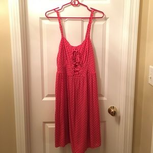 Torrid Lace Up Front Polka Dot Sun Dress