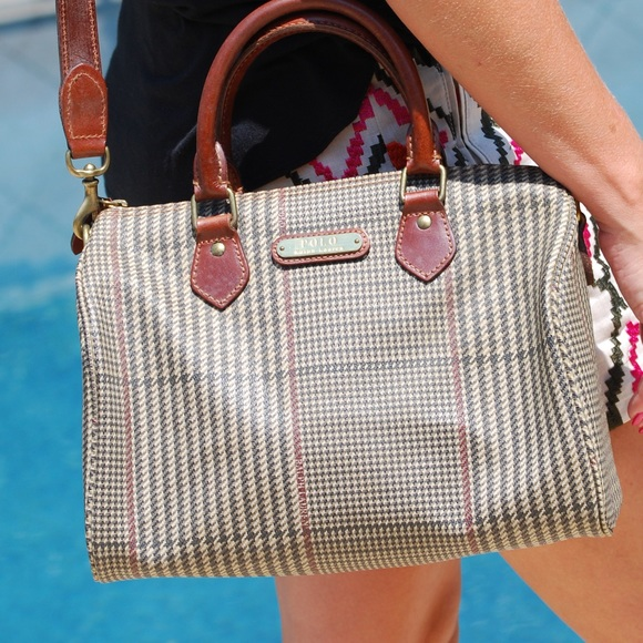 VINTAGE Ralph Lauren Polo Handbag Houndstooth 51050622964eb