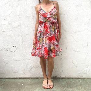 Red Floral Ruffle Midi Dress