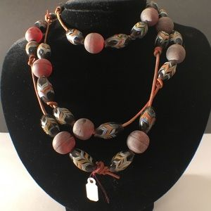 Beaded necklace with leather