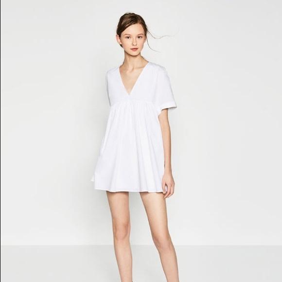 0a5c0d26dc Zara white poplin playsuit romper dress. M 5983e95abf6df5271900ec34