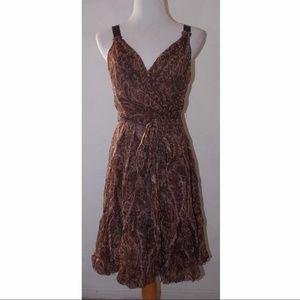 BCBG Max Azria Paisley Bubble Brown Dress Size 6